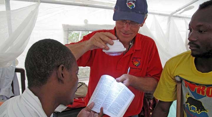 Dr. Fred Sorrells demonstrating solar light