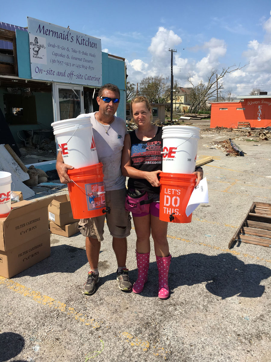 Water filters being delivered to Rockport, Texas