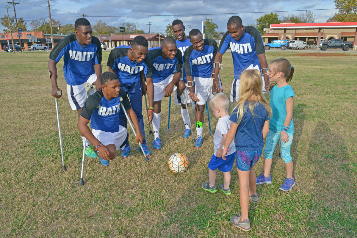 Haiti National Amputee Soccer Team entertains kids in Bullard, TX